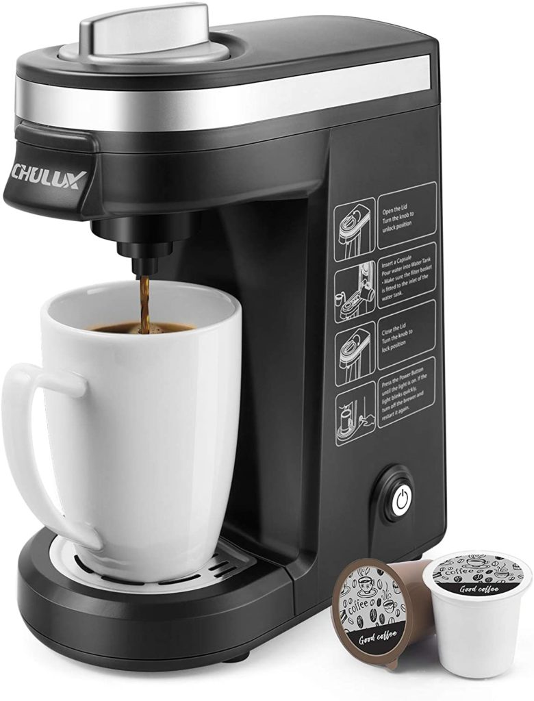 2. CHULUX Single Serve Coffee Maker - Brewer for Single Cup Capsule