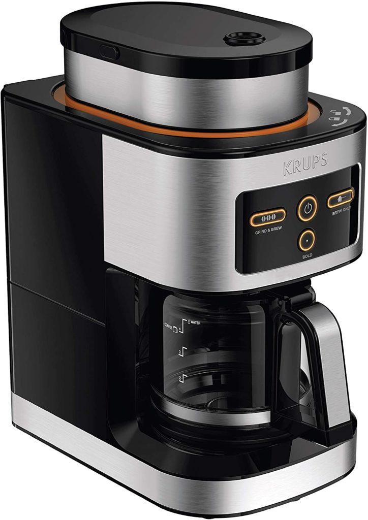2. KRUPS KM550D50 Personal Café Grind Drip Maker Coffee Grinder (4 cups, Silver)