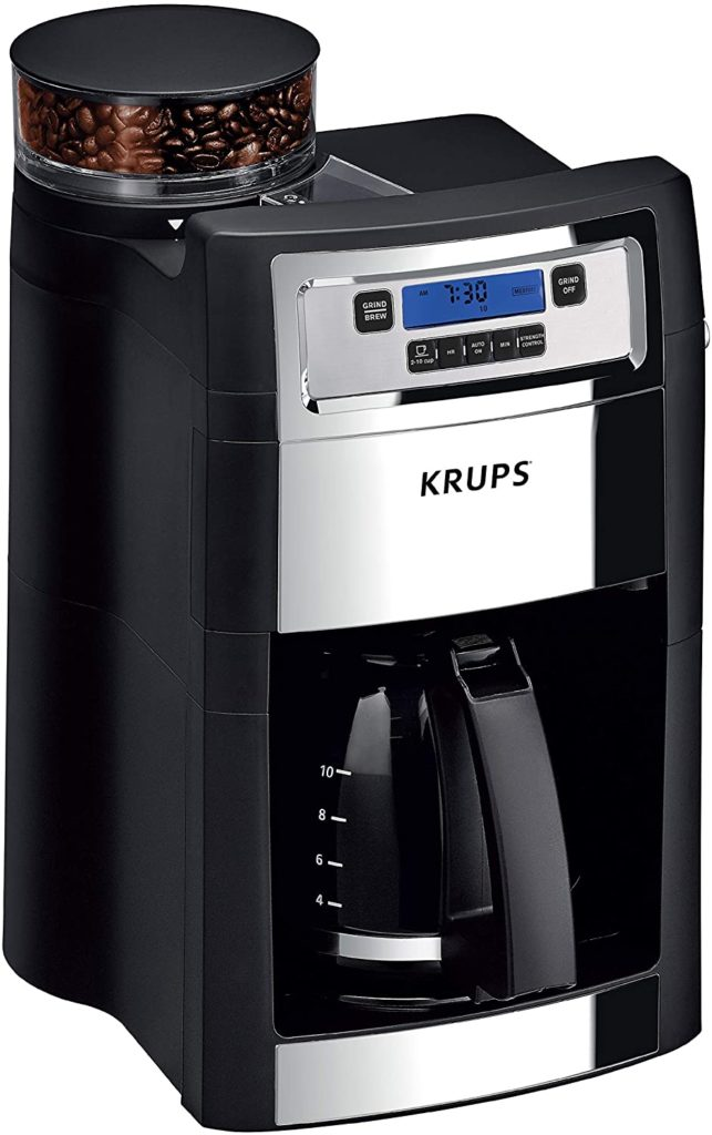 4. KRUPS Grind and Brew Auto-Start Maker with Builtin Burr Coffee Grinder (10-Cups, Black)