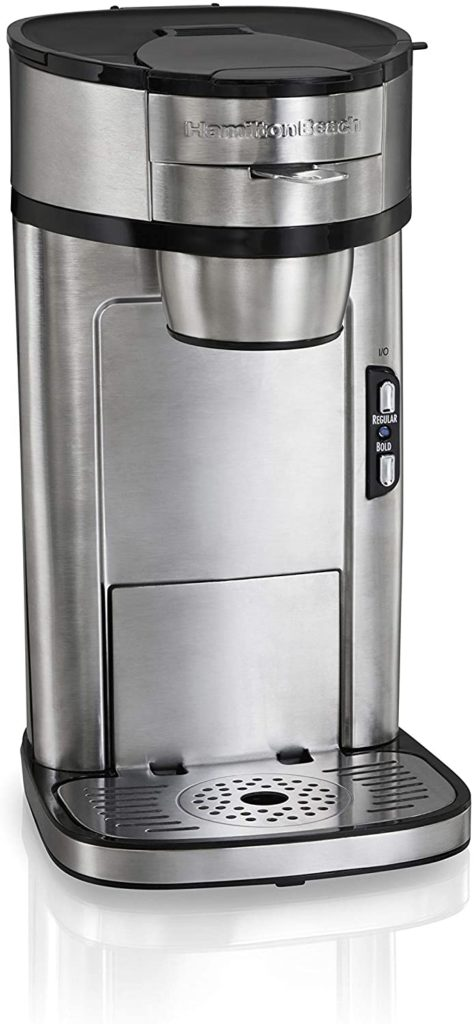 7. Hamilton Beach Scoop Single Serve Coffee Maker, Fast Brewing & Stainless Steel (49981A)