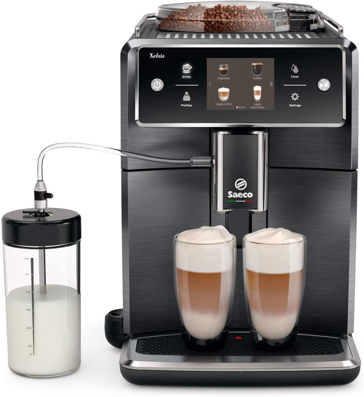 7. Saeco Xelsis Super Automatic Espresso Machine, Titanium Metal Front, SM7684/04