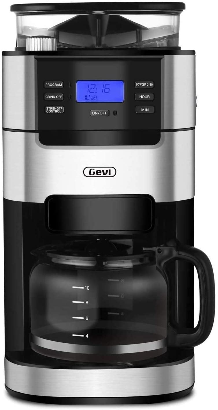 9. 10-Cup Grind and Brew Automatic Coffee Machine with Built-In Burr Coffee Grinder