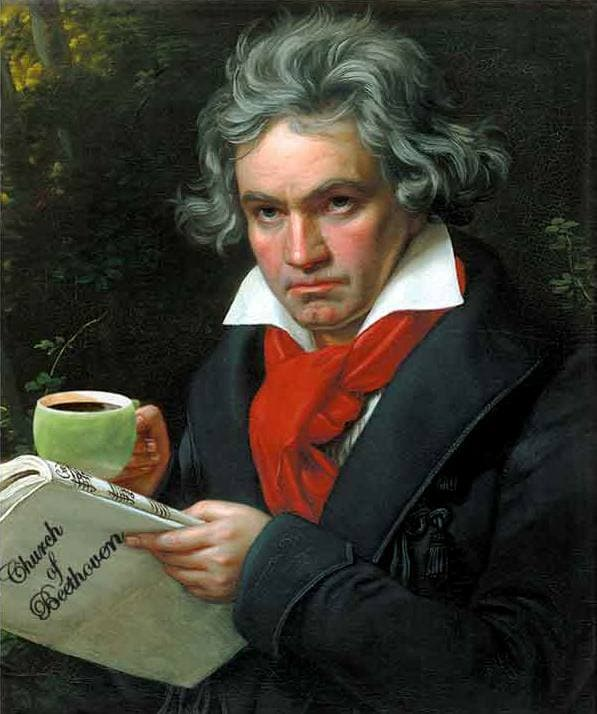 17. The famous musician Beethoven loved coffee