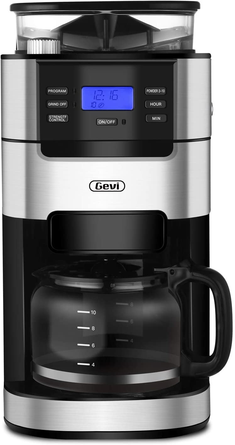 10-Cup Drip Coffee Maker, Grind and Brew Automatic Coffee Machine with Built-In Burr Coffee Grinder, Programmable Timer Mode and Keep Warm Plate