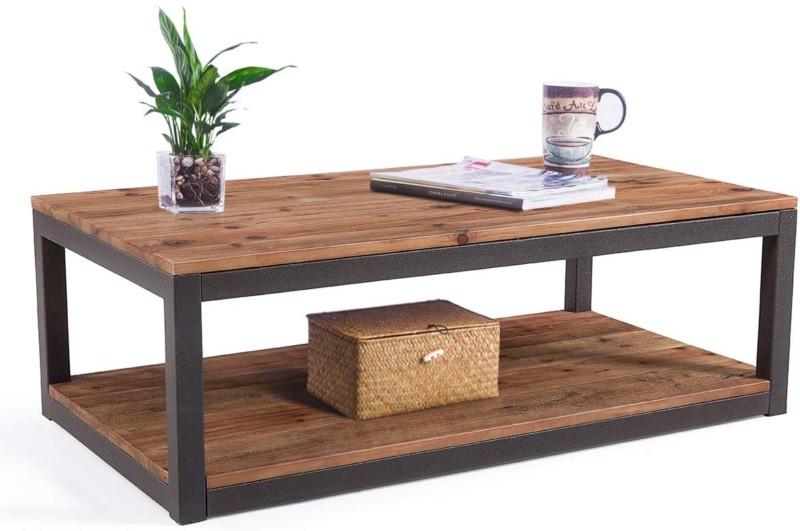 1. Care Royal Farmhouse Coffee Table with Storage Shelf