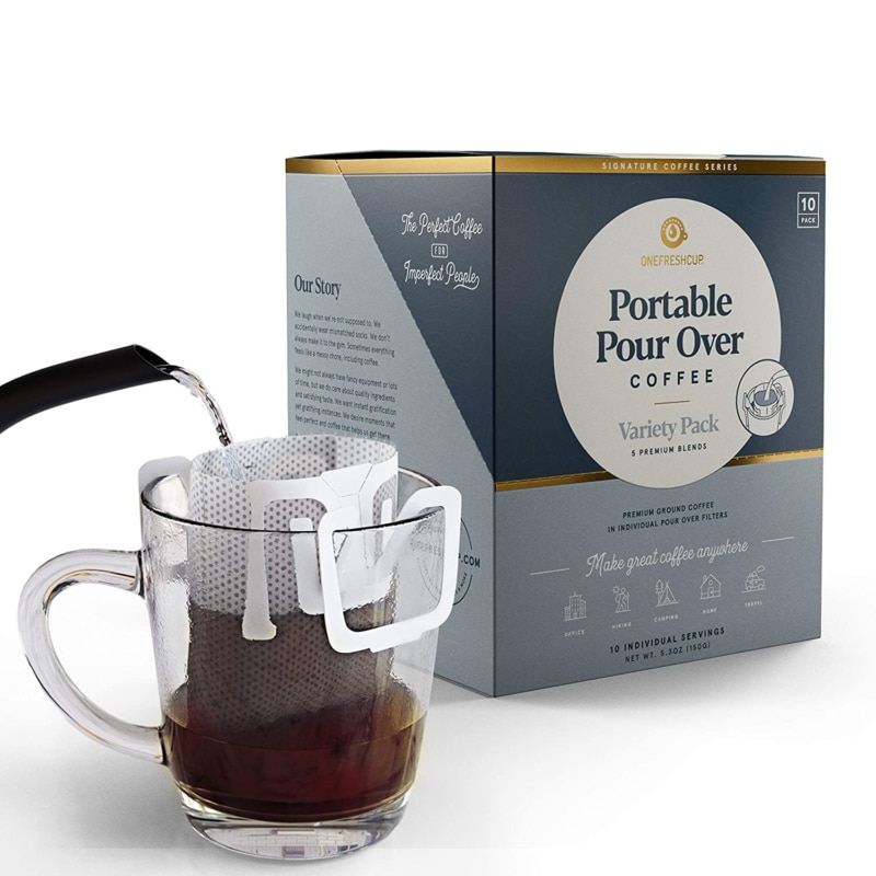 2. One Fresh Cup Coffee - Single Serve Portable Pour Over Drip Coffee