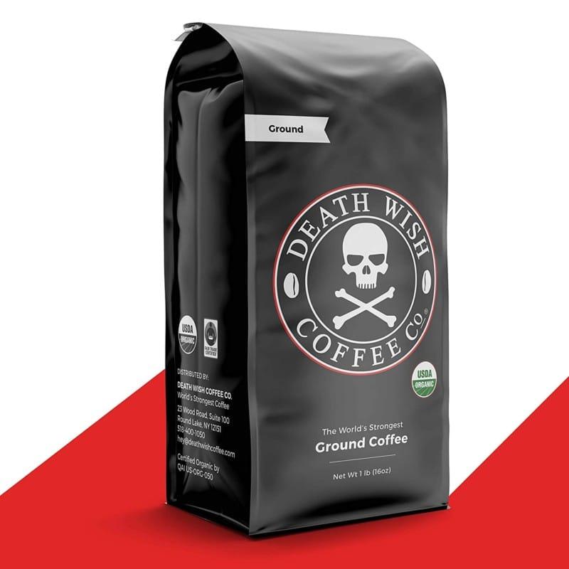 2. DEATH WISH COFFEE Dark Roast Coffee Grounds - World's Strongest Coffee