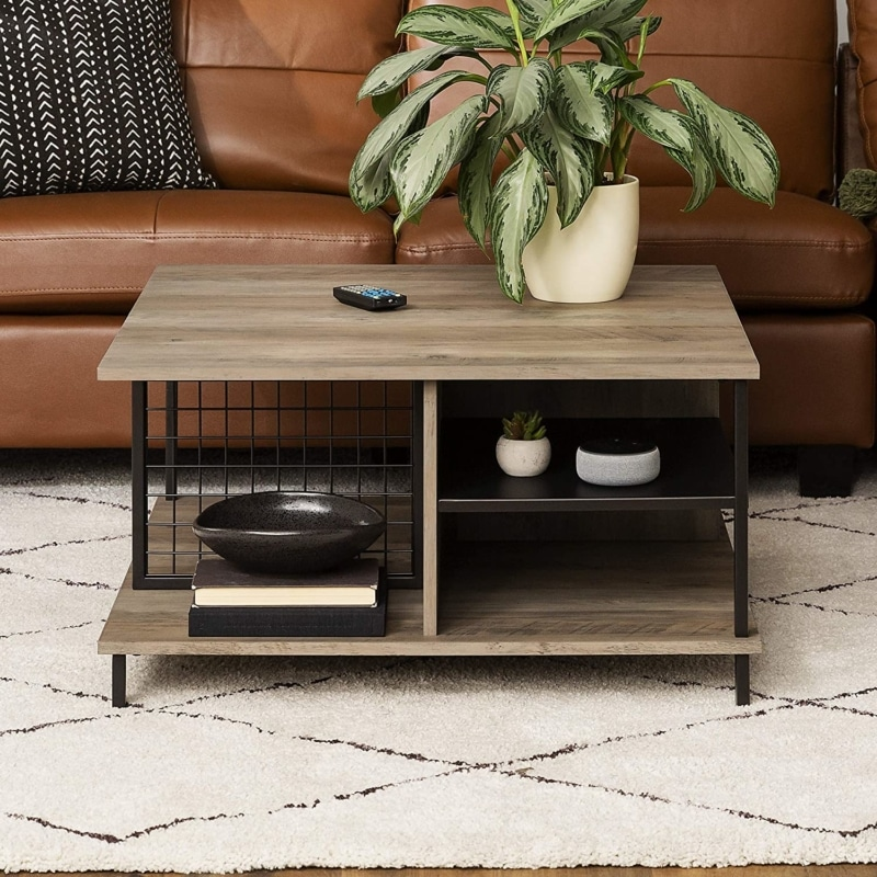 1. WALKER EDISON Metal and Wood Square Coffee Table