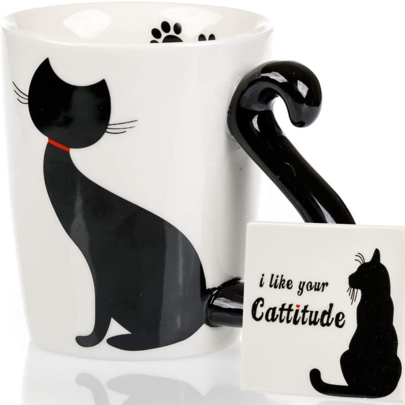 1. Cat Mug & Coaster Set -  Hand Painted Novelty 3D Black Ceramic Coffee Mugs