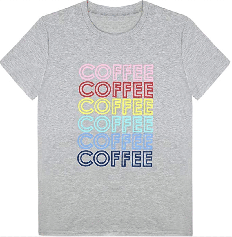1. Colorful Printing Coffee Words FLOYU T-shirt for Women