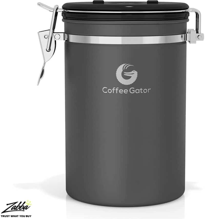1. Huge Gray Layered Stainless Steel Coffee Gator Coffee Canister