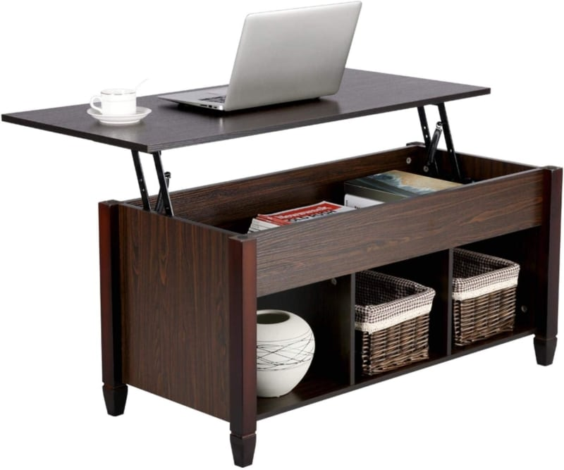 10. YAHEETECH Lift Top Coffee Table with Hidden Storage