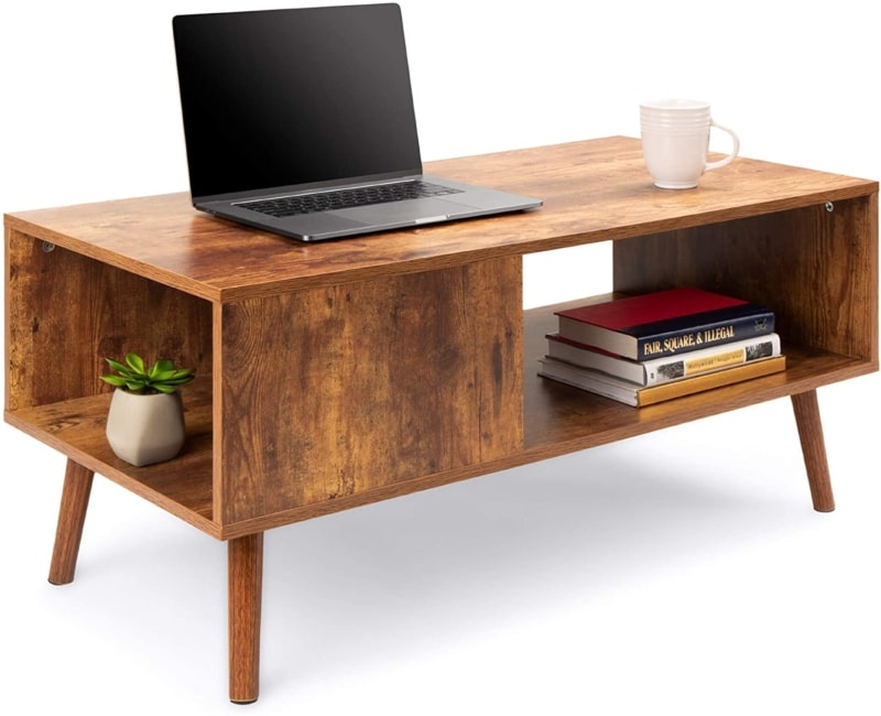10. Best Choice Products Wooden Mid-Century Coffee Table (Brown)