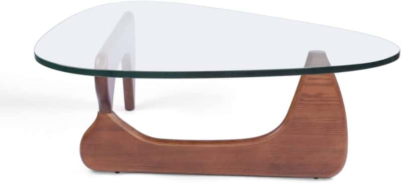 10. Rimdoc Triangle Glass Coffee Table with Wood Base