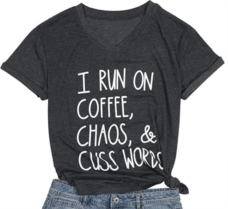 10. Soft and V-neck MAXIMGR Women T-shirt for Coffee Lovers
