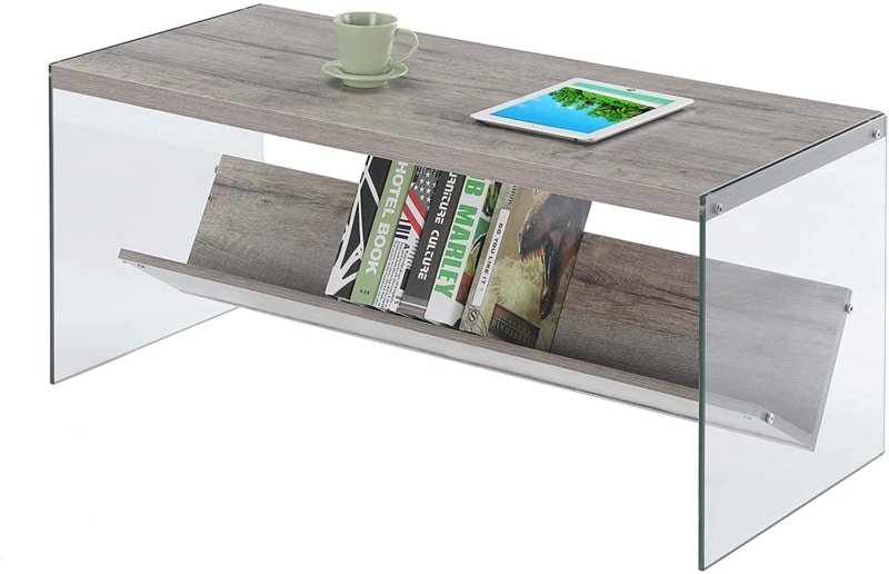 11. Sandstone Convenience Concepts Coffee Table with Glass Legs