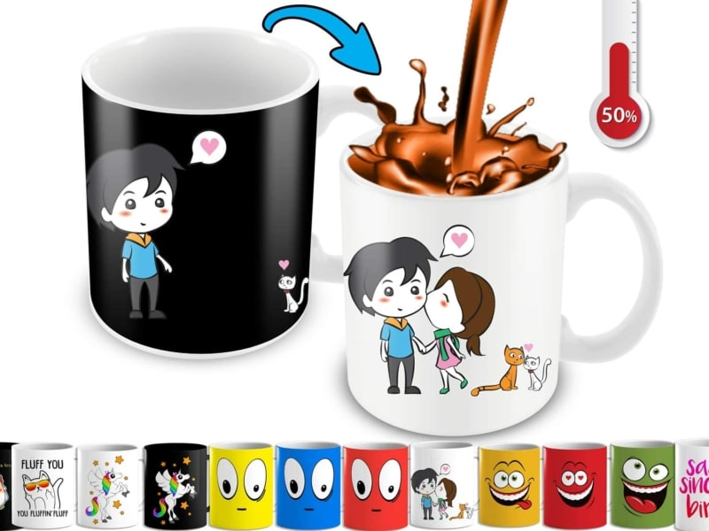 13. Heat Changing Mug With Lovely Cartoon Couples And Cute Cats