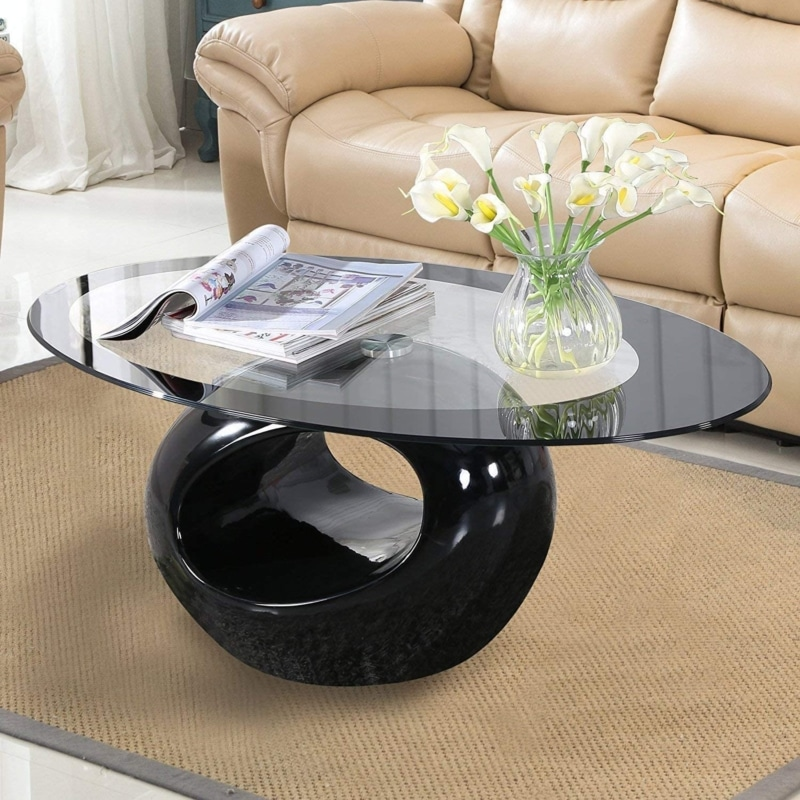 13. Mecor Glass Coffee Table with Round Base