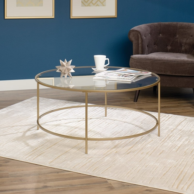 14. Sauder Int Round Lux Coffee Table with Glass and Gold Finish 417830