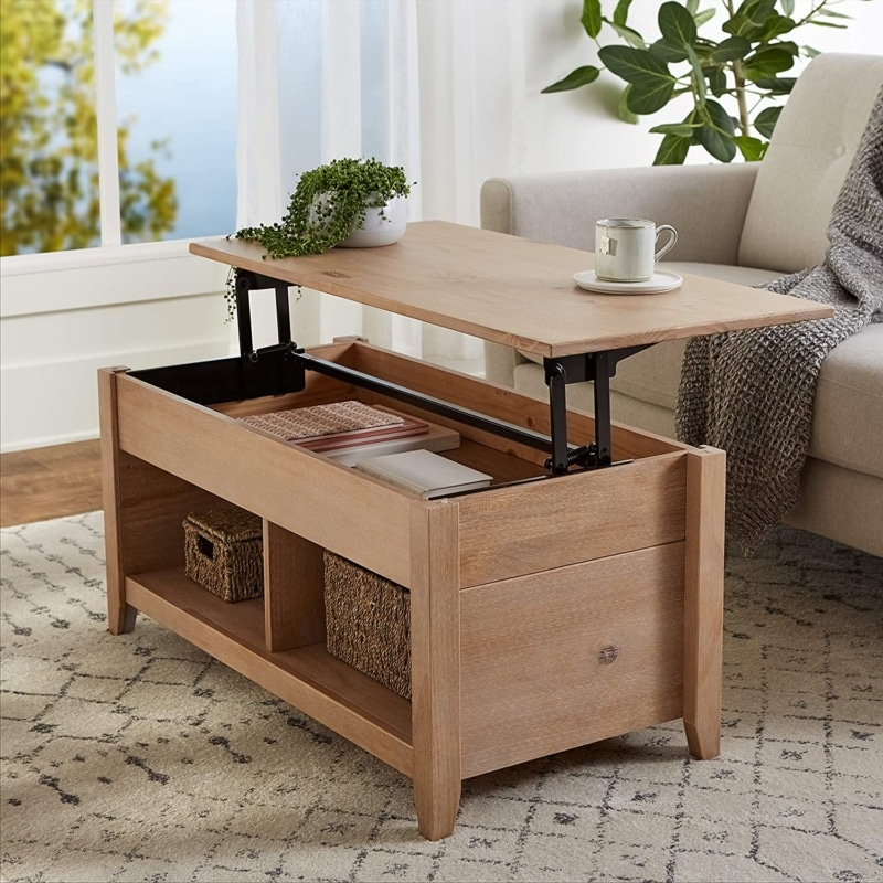 2. Amazon Basics Lift-Top Storage Coffee Table, Natural