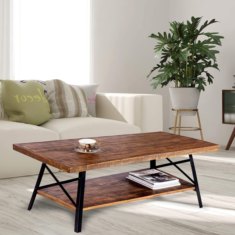 2. Olee Sleep Vintage Cocktail Wood Coffee Table (Rustic Brown)