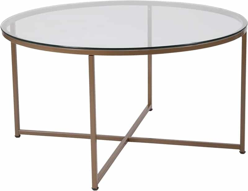 2. Small Matte Gold Frame Flash Furniture Glass Coffee Table