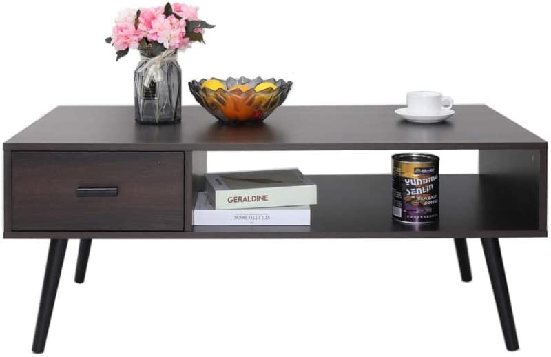 3. IWELL Mid-Century Coffee table with Drawer and Storage Shelf