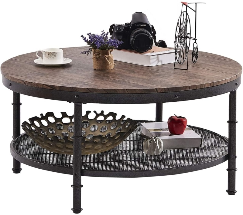 3. GreenForest Round Industrial Coffee Table (Rustic Walnut)