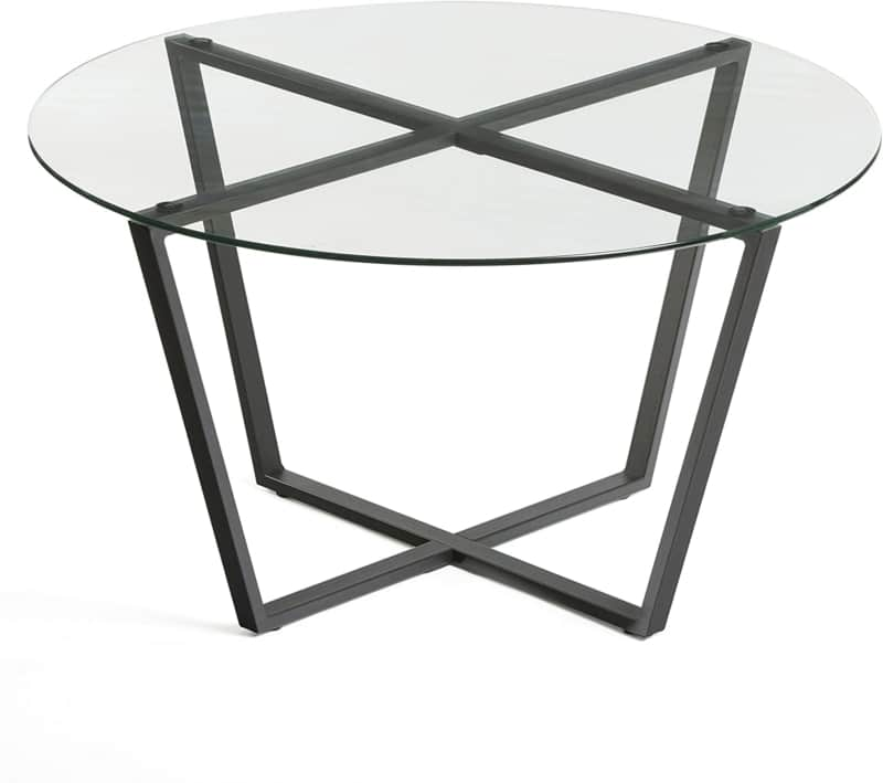 3. Small and Round Glass Coffee Table by Mango Steam