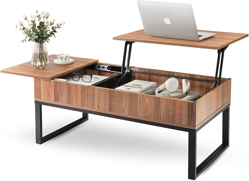 4. WLIVE Wood Lift Top Coffee Table with Hidden Storage compartment
