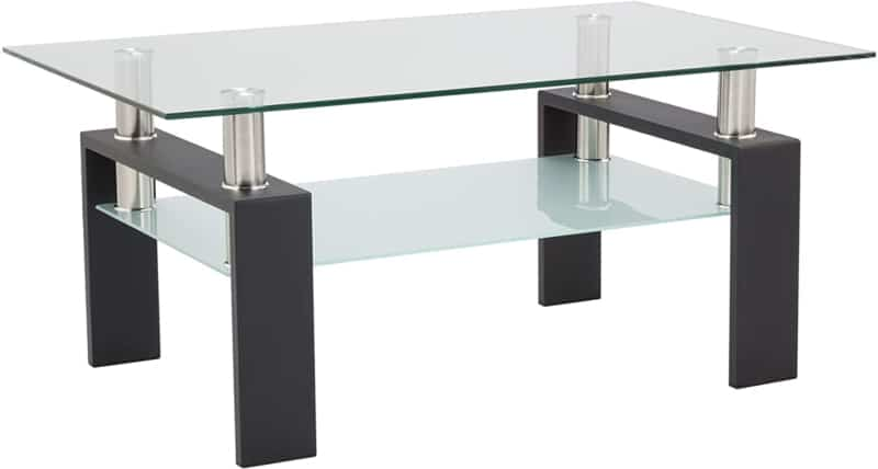 4. Depointer Life Glass Coffee Table with Metal Legs