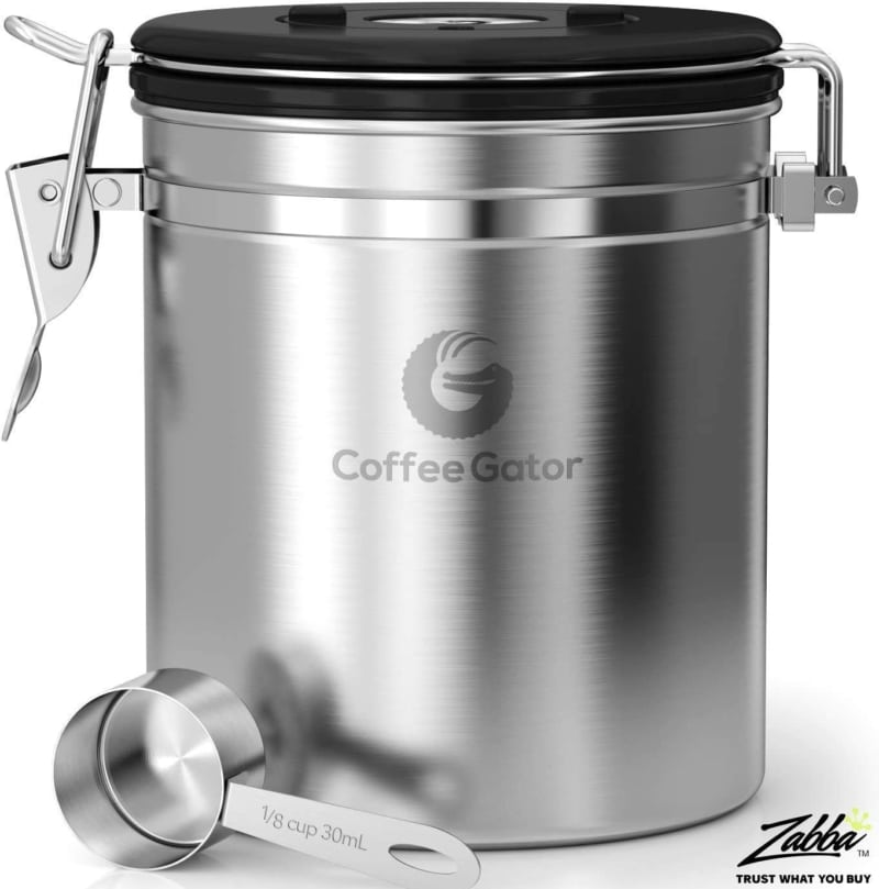 4. Medium Silver Stainless Steel Coffee Gator Coffee Canister