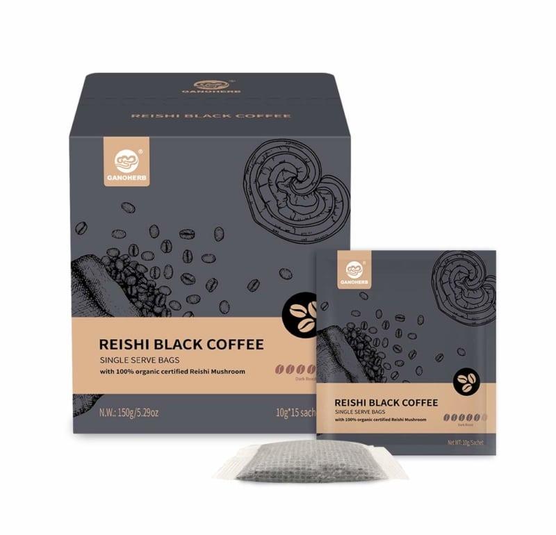 4. GANOHERB Reishi Black Single-Serve Steeped Coffee Bag
