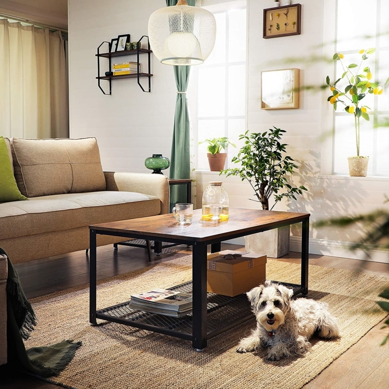 5. VASABLE Industrial Coffee Table