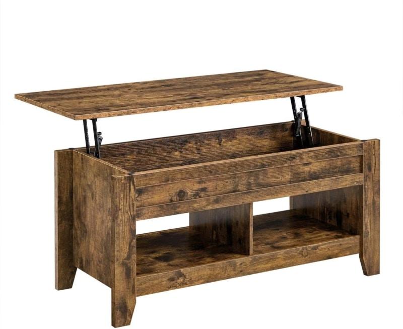 5. YAHEETECH Modern Lift-Top Coffee Table (Rustic Brown)