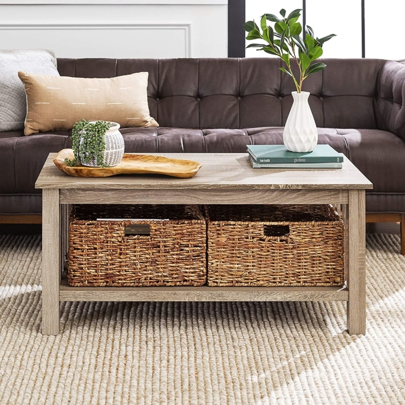 6. Walker Edison Alayna Mission Style Two Tier Coffee Table