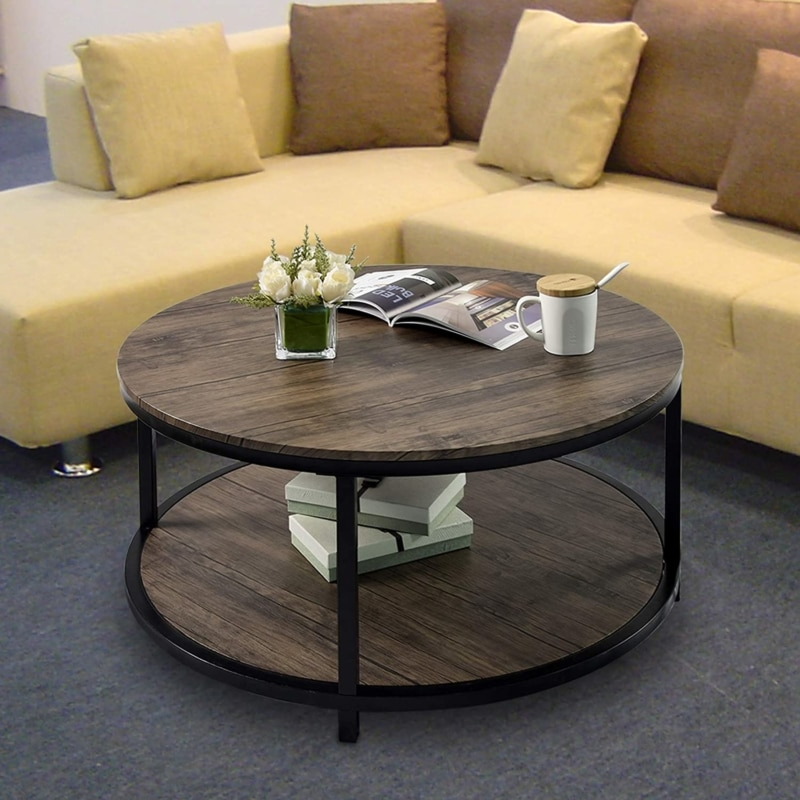 6. CharaHOME Vintage Round Rustic Coffee Table (Gray Brown)