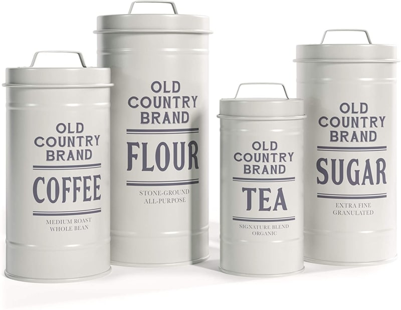6. A Set of 4 White Metal Rustic Coffee Canister by Barnyard Designs