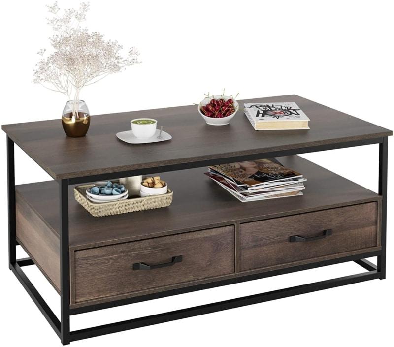 "7. HOMECHO Industrial Coffee Table"""
