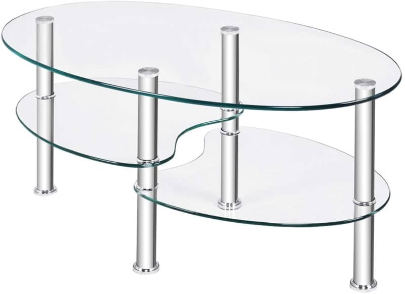 7. Tangkula Oval Glass Coffee Table Plus Double Glass Boards
