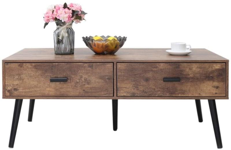 8. IWELL Mid-Century Modern Coffee Table (Rustic Brown)