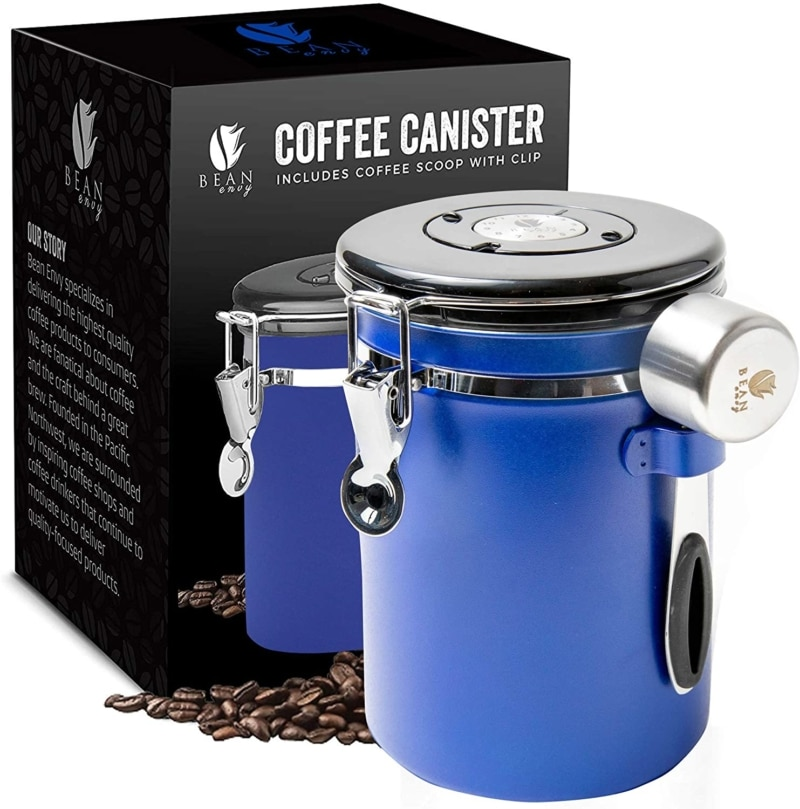 8. Blue Functional and Airtight Bean Envy Coffee Canister