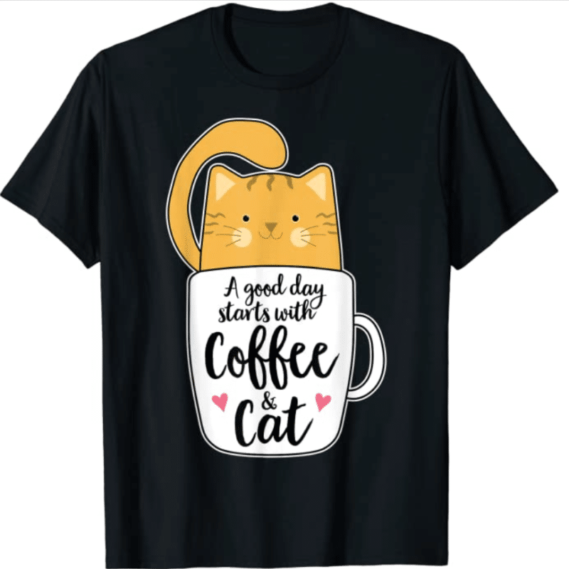 8. Lovely Big Cat Coffee Mug Gifts & Tees Ben T-shirt for Caffeine Lovers
