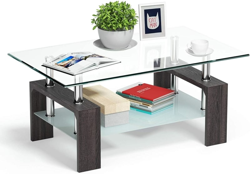 8. Tangkula Rectangular Glass Coffee Table with Wooden Base