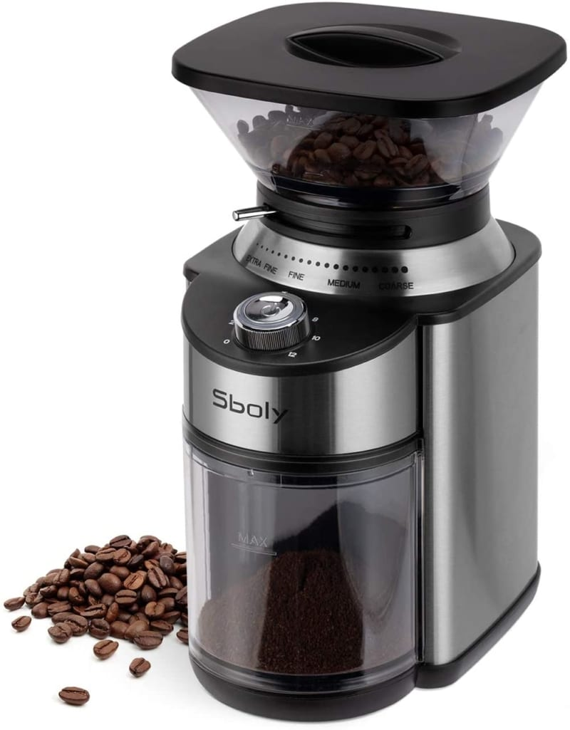 8. Sboly Conical Burr Coffee Grinder