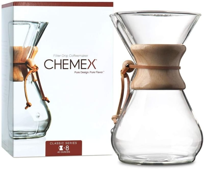 9. CHEMEX Pour-Over Glass Coffeemaker - Classic Series - 8-Cup - Exclusive Packaging