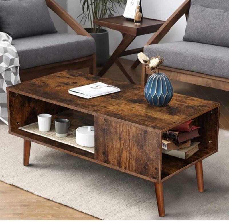9. KingSo Modern Retro Coffee Table (Rustic Brown)