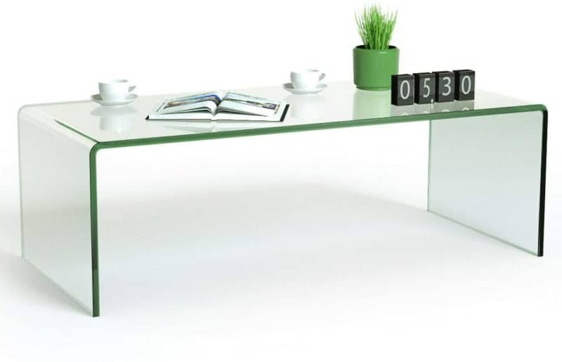 9. Tangkula Entire Transparent Glass Coffee Table