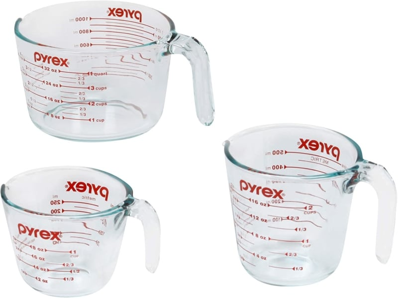 3. Pyrex Glass Measuring Cup Set (3-Piece, Microwave and Oven Safe)