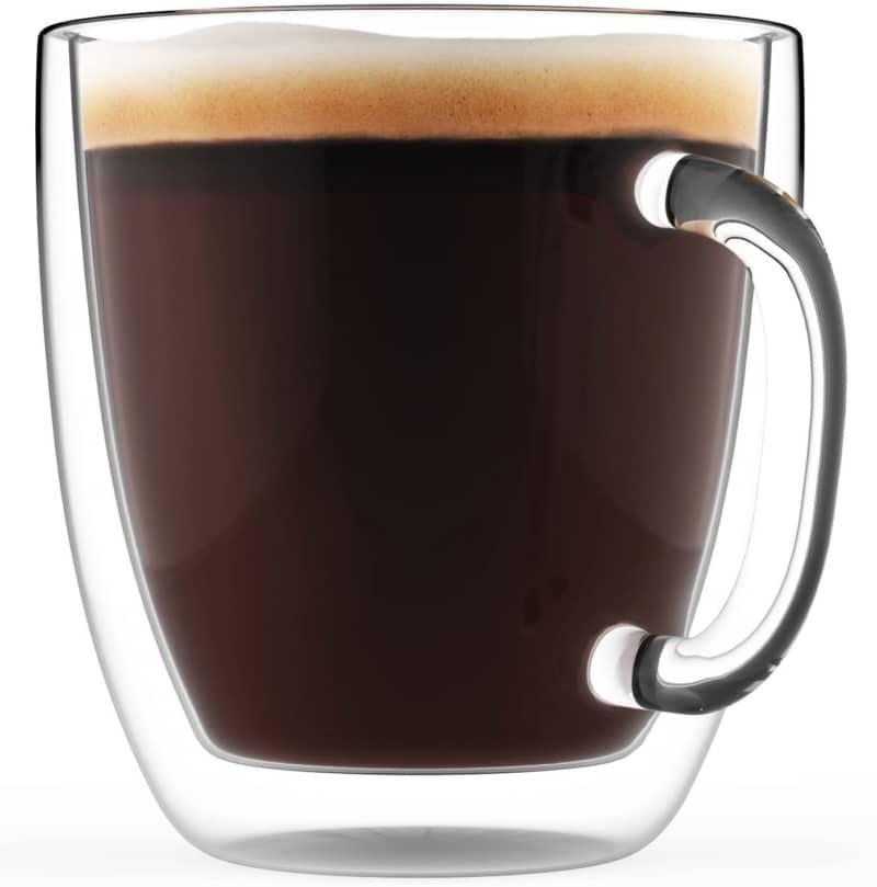 5. Large Coffee Mugs, Double Wall Glass Set of 2  (16 oz)
